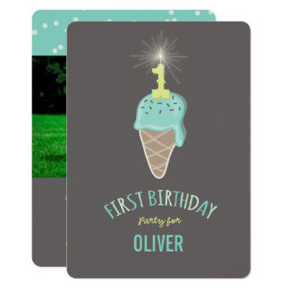 Mint Ice Cream Sparkler One Boy 1st Birthday Party Card