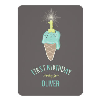 Mint Ice Cream Sparkler One Boy 1st Birthday Party 5x7 Paper Invitation Card
