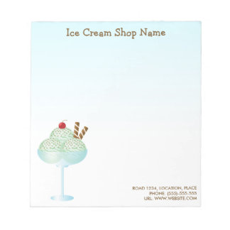 Mint Ice Cream Sundae Ice Cream Shop Business Note Pad