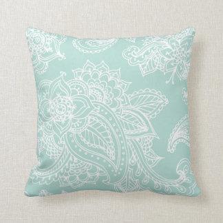 Mint Illustrated Bohemian Paisley Henna Throw Pillow