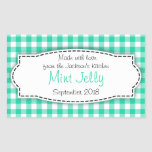 Mint Jelly green gingham food label sticker
