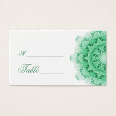 Mint Kaleidoscope Flower Wedding Place Cards at Zazzle