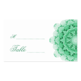 Mint Kaleidoscope Flower Wedding Place Cards Double-Sided Standard Business Cards (Pack Of 100)