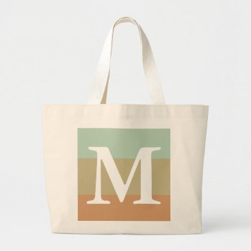 USA Themed Mint Khaki Striped Color Palette  Monogram Large Tote Bag
