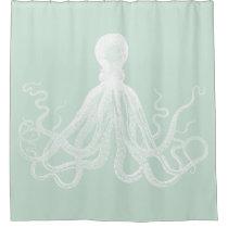 Mint Kraken Octopus Shower Curtain