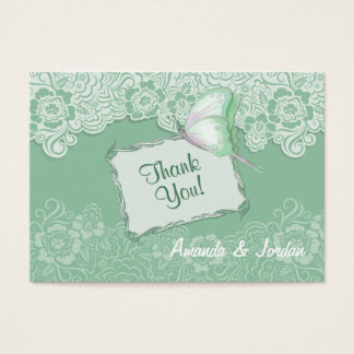 Mint Lace and Butterfly Wedding - Thank You Business Card