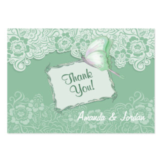 Mint Lace and Butterfly Wedding - Thank You Large Business Card