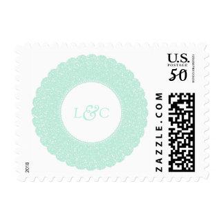 Mint lace custom postage stamp