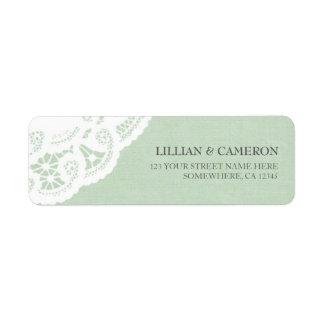 Mint Lace Doily Return Address Labels