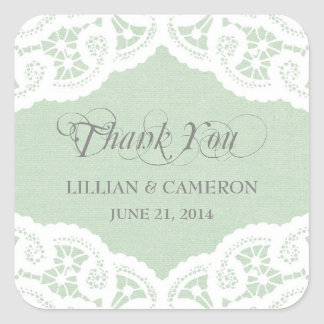 Mint Lace Doily Thank You Name Stickers