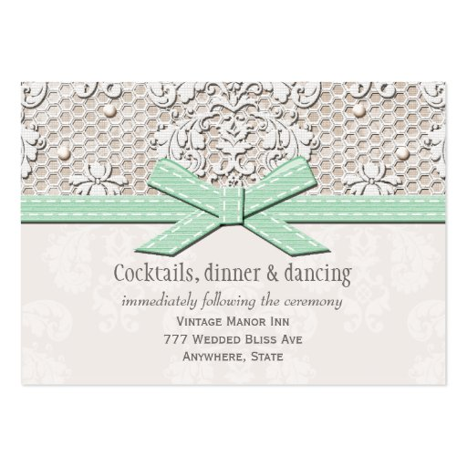 Mint Lace Pearl Wedding Reception Enclosure Card Business Card Templates