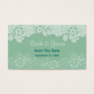 Mint Lace - Save the Date Business Card