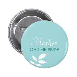 Mint leaves teal green wedding name tag badge pin