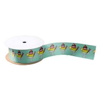 mint lemon and strawberry ice cream satin ribbon