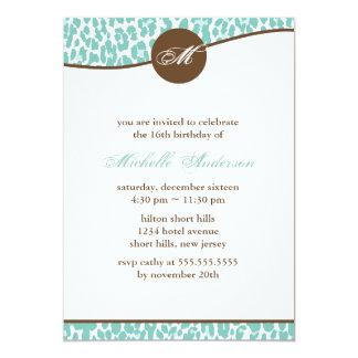 Mint Leopard Print Birthday Invites