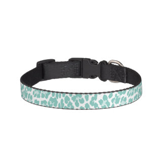 Mint Leopard Print Pattern Pet Collar