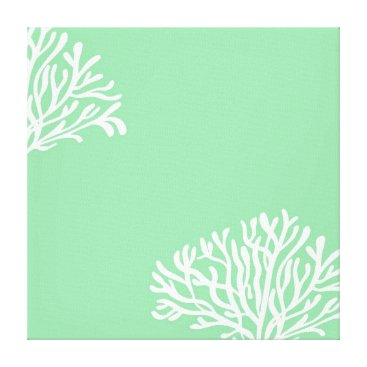 Beach Themed Mint Lime and White Coral Canvas Print