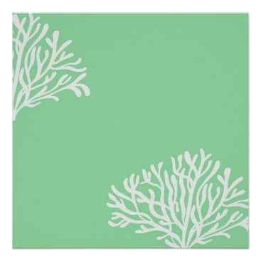 Beach Themed Mint Lime and White Coral Poster