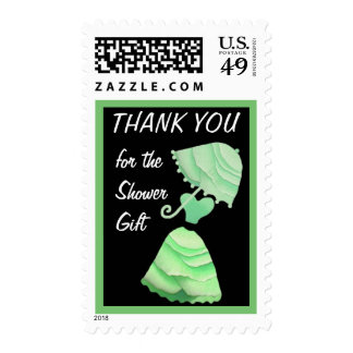 Mint & Lime Green Umbrella Thank You Shower Gift Postage Stamps