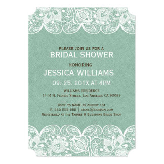 Mint Linen Print & White Lace Bridal Shower Invite