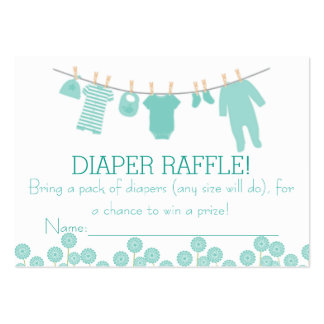 Mint Little Clothes Diaper Raffle Tickets Large Business Cards (Pack Of 100)