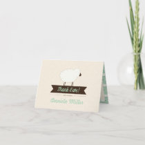Mint Little Lamb Folded Baby Thank You Card