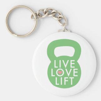 "Mint ""Live Love Lift"" Basic Round Button Keychain"
