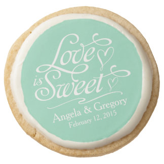 Mint Love is Sweet Personalized Wedding Favor Round Shortbread Cookie