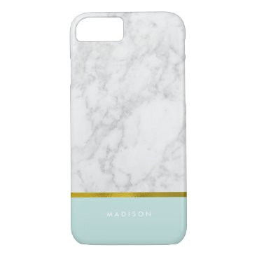 heartlocked Mint Marble Pattern and Faux Gold Foil iPhone 7 Case