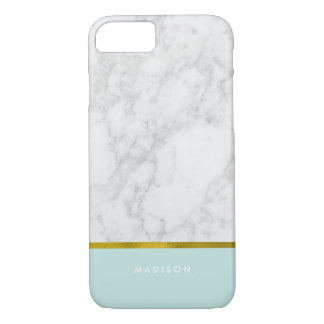 Mint Marble Pattern and Faux Gold Foil iPhone 8/7 Case