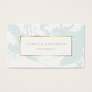 Professional Business Mint Marble with Faux Gold Foil Business Card