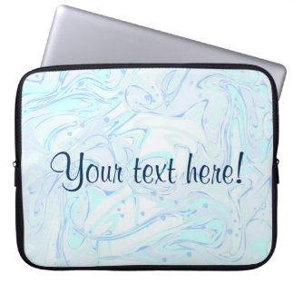 Mint marbled texture with sample text laptop sleeve