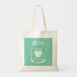 Mint mason jar wedding tote bag for bridesmaids