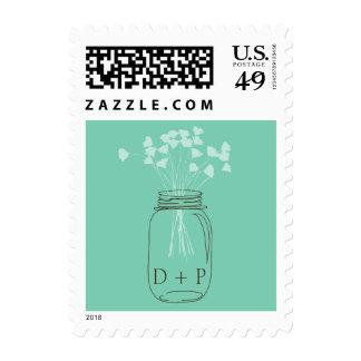 Mint Mason Jar with Flowers Wedding Postage Stamp