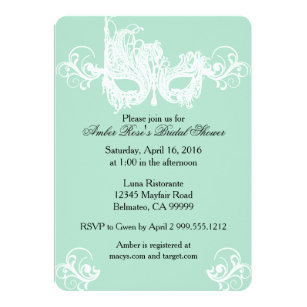 mint masquerade bridal shower invitation