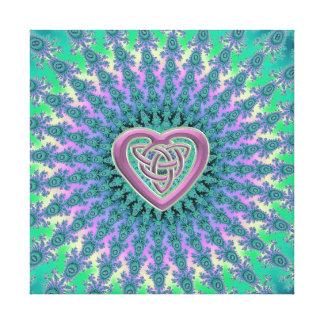 Mint Mauve Celtic Heart Fractal Mandala Canvas Stretched Canvas Prints