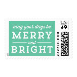 Mint Merry & Bright Christmas Holiday  Stamps