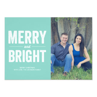 Mint Merry & Bright Christmas Photo Flat Cards Personalized Invitation