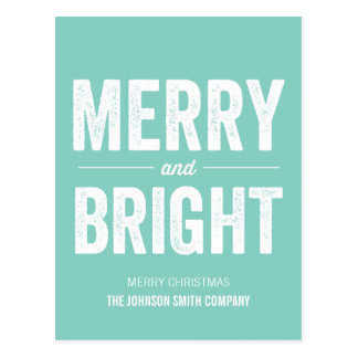 Mint Merry Christmas Business Post Cards