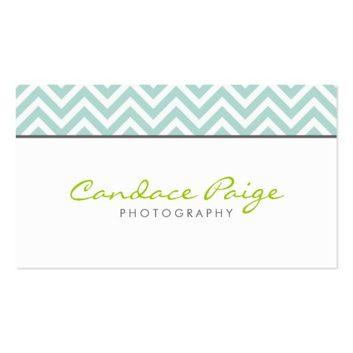 Mint Modern Chevron Stripes Double-Sided Standard Business Cards (Pack Of 100)