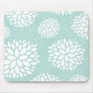 Mint Modern Flowers Mouse Pad