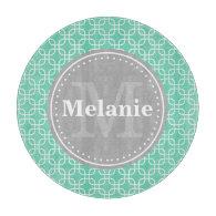 Mint Modern Squares Pattern Grey Monogram