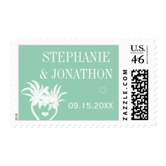 Mint Modern Typography Chalkboard Wedding Postage Stamp