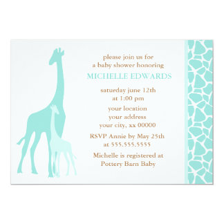 Mint Mom and Baby Giraffe Baby Shower 5x7 Paper Invitation Card
