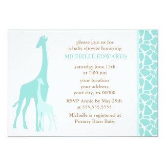 Mint Mom and Baby Giraffe Baby Shower Card