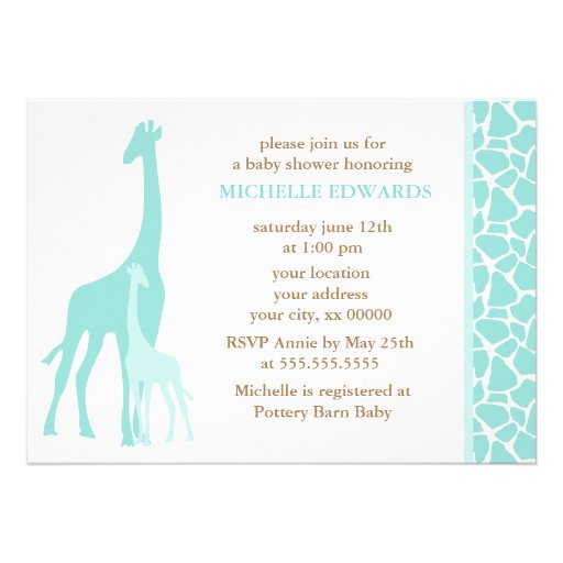 Mint Mom And Baby Giraffe Baby Shower 5x7 Paper Invitation