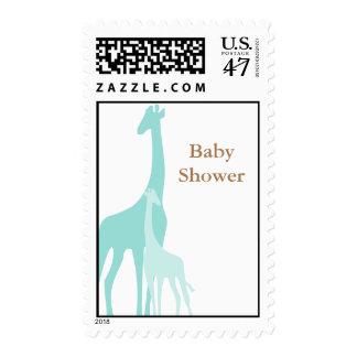 Mint Mom and Baby Giraffes Postage