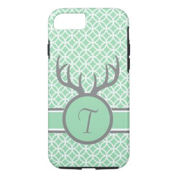 USA Themed Mint Monogram Antlers iPhone 8/7 Case