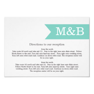 "Mint Monogram Banner Wedding Direction Cards 3.5"" X 5"" Invitation Card"