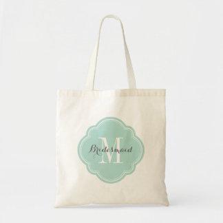 Mint Monogram Bridesmaid Tote Bag